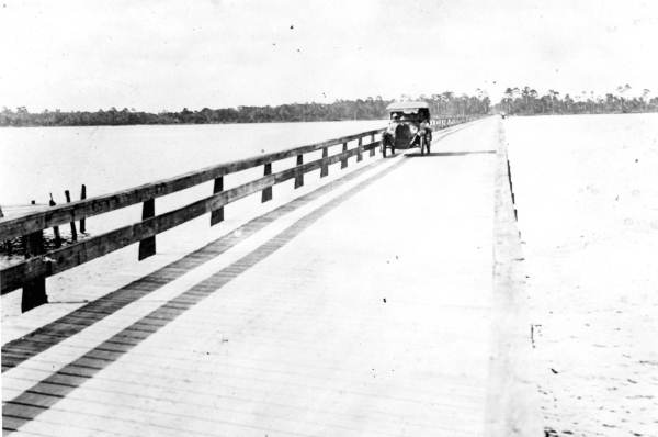 Old wooden bridge crossing North Bay from Lynn Haven to Southport